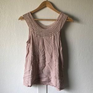 Maurices Crochet Neck Blush Pink Tank Top